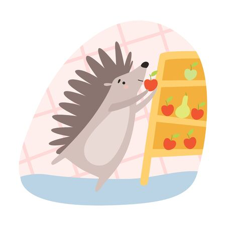 Spiky Hedgehog Preparing Provisions for Winter Time Vector Illustration