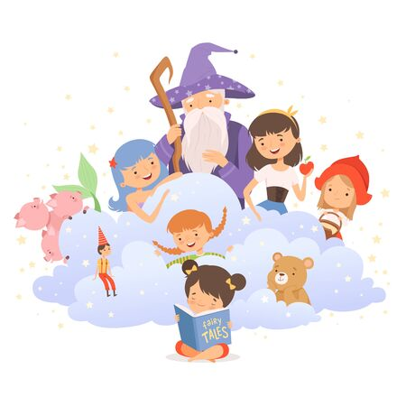 Little Girl Holding Opened Book Reading Fairy Tale with Fairy-tale Characters Sitting Behind Her Vector Illustration Çizim
