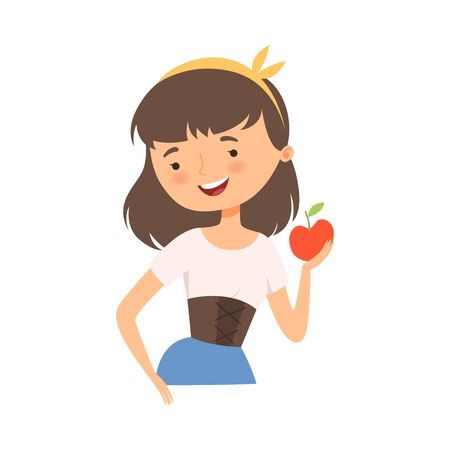 Snow White Character from Fairy Tale Holding Ripe Apple Vector Illustration