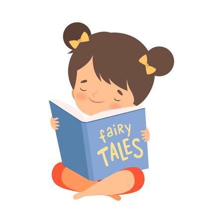 Little Girl Holding Opened Book Reading Fairy Tale Vector Illustration
