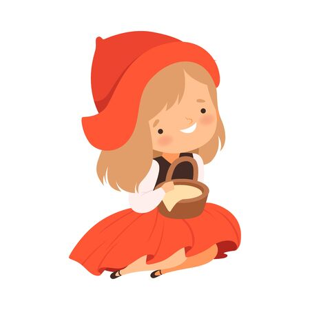 Little Red Riding Hood Character from Fairy Tale Vector Illustration Çizim