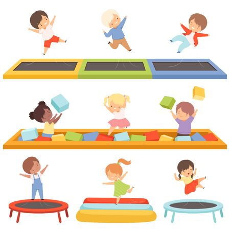 Cute Little Boys and Girls Bouncing on Trampolines and Playing in a Pool with Soft Cubes Collection, Happy Kid Trampolining and Having Fun on Playground, Active Children Leisure Vector Illustration