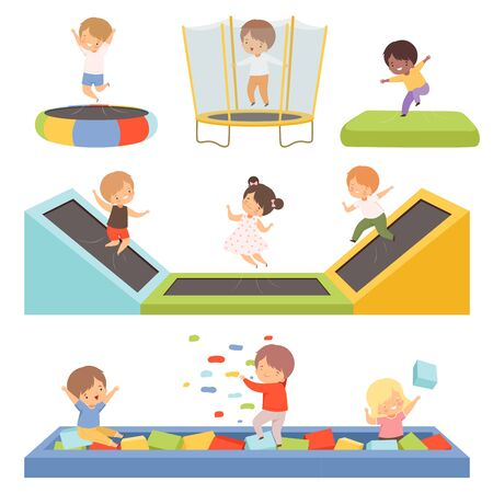 Cute Little Boys and Girls Bouncing on Trampolines and Playing in a Pool with Cubes Collection, Happy Kid Trampolining and Having Fun on Playground, Active Children Leisure Vector Illustration