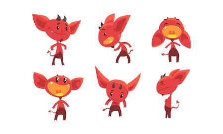 Cute Red Devil with Various Emotions and Actions Collection, Funny Demon Cartoon Characters Vector Illustration  イラスト・ベクター素材