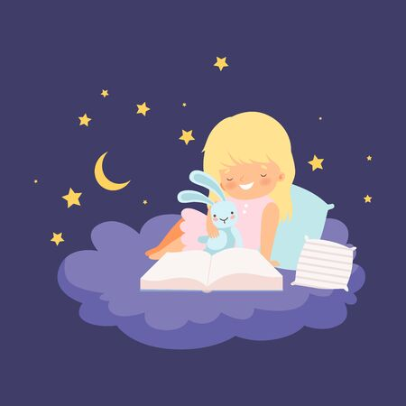 Cute Blonde Little Girl Sitting on a Cloud at Night and Reading a Book Vector Illustration Vector Illustration
