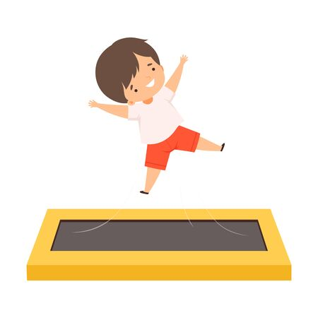 Smiling Cute Boy Bouncing on a Trampoline, Happy Kid Trampolining and Having Fun, Active Children Leisure Vector Illustration 向量圖像