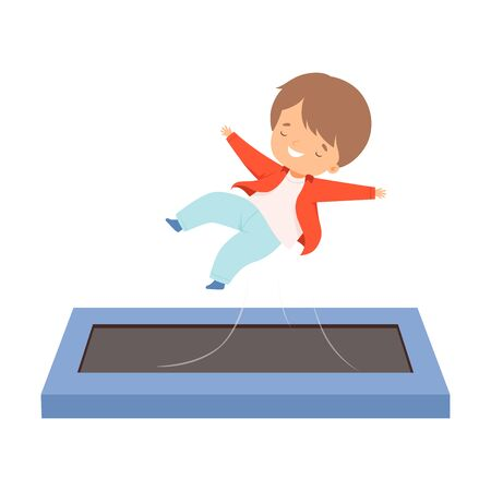Cute Boy Bouncing on a Trampoline, Happy Smiling Kid Trampolining and Having Fun, Active Children Leisure Vector Illustration 向量圖像