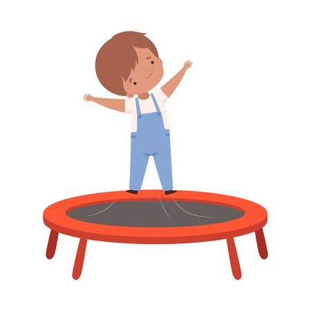 Cute Boy Bouncing on a Trampoline, Kid Trampolining and Having Fun, Active Children Leisure Vector Illustration