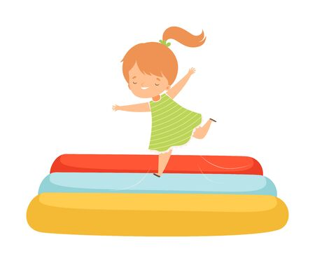Cute Girl Bouncing on an Inflatable Trampoline, Happy Kid Trampolining and Having Fun, Active Children Leisure Vector Illustration
