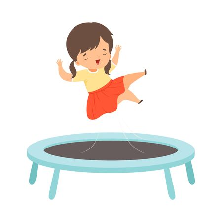 Cute Brunette Girl Bouncing on a Trampoline, Kid Trampolining and Having Fun, Active Children Leisure Vector Illustration
