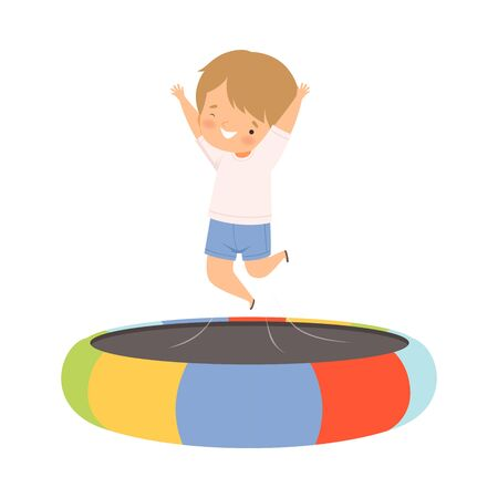 Happy Boy Bouncing on a Trampoline, Kid Trampolining and Having Fun, Active Children Leisure Vector Illustration