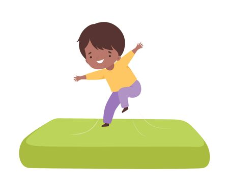 Cute Boy Bouncing on an Inflatable Trampoline, Happy Kid Trampolining and Having Fun, Active Children Leisure Vector Illustration 向量圖像