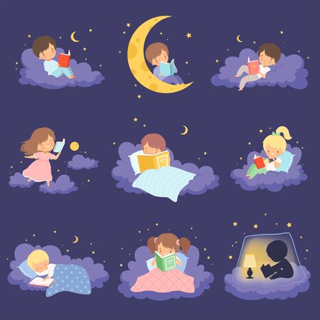 Cute Blonde Little Girl Sitting and Lying on Clouds at Night and Reading Books Collection Vector Illustration Vector Illustration