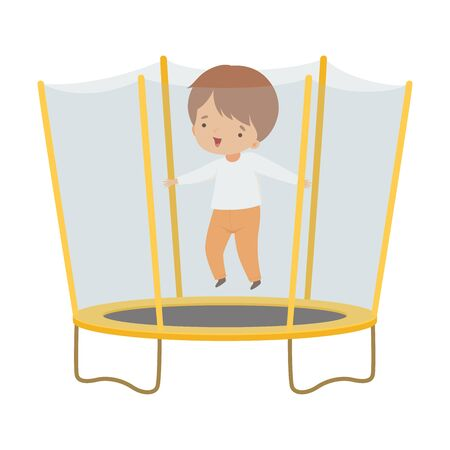 Cute Boy Bouncing on a Trampoline, Happy Kid Trampolining on a Playground, Active Children Leisure Vector Illustration 向量圖像