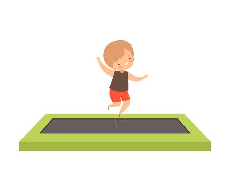 Cute Boy Bouncing on a Trampoline of Rectangular Shape, Happy Kid Trampolining and Having Fun, Active Children Leisure Vector Illustration