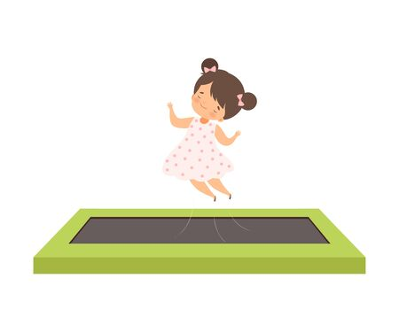 Cute Girl Bouncing on a Trampoline, Happy Kid Trampolining on a Playground, Active Children Leisure Vector Illustration