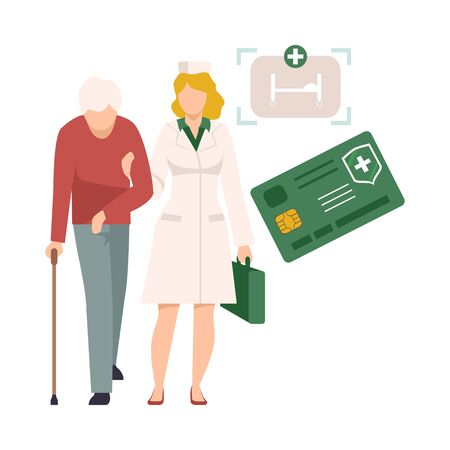 Health Insurance for Seniors Vector Illustration. Medical Insurance Purchase Concept. Nurse Assisting Old Man