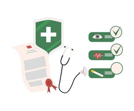 Health Insurance Attributes and Check List Vector Illustration Vektorgrafik
