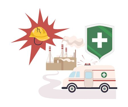 Health and Life Insurance from Incidents Happening at Plants Vector Illustration