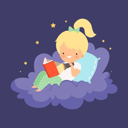 Cute Blonde Little Girl Sitting on a Cloud at Night Sky and Reading a Book Vector Illustration Vector Illustration