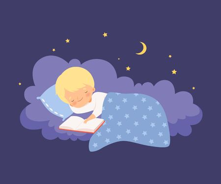 Cute Little Boy Sleeping on a Cloud under the Blanket with Open Book Vector Illustration