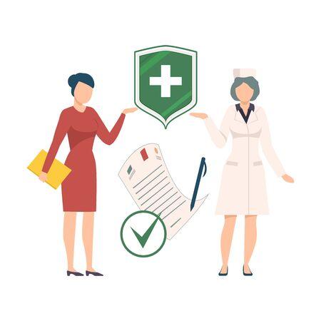 Health Benefits Document Vector Illustration. Medical Insurance Gaining Concept