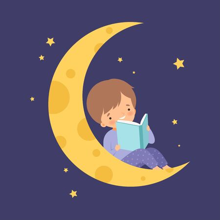 Cute Little Boy Sitting on the Moon at Night Sky and Reading a Book Vector Illustration