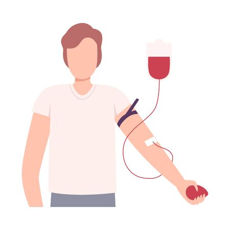 Male Donor Giving Blood in Medical Hospital, Blood Donation Flat Vector Illustration
