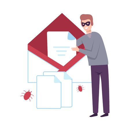 Hacker Infected Emails by Viruses, Cyber Internet Security, Computer Attack Vector Illustration Ilustracja