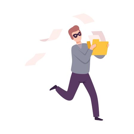 Hacker Stealing Email, Cyber Internet Security, Computer Attack Vector Illustration