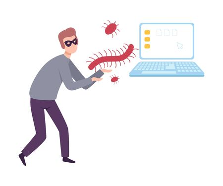 Masked Hacker Stealing Privacy Data from Laptop Using Virus and Bugs, Cyber Crime, Hacking and Phishing Vector Illustration