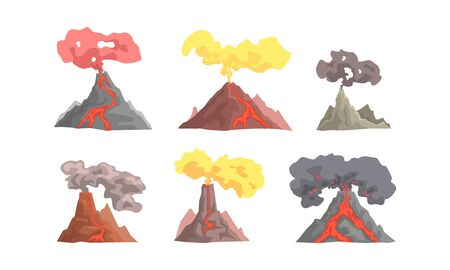 Volcano Eruption Collection, Magma Blowing up with Lava Flowing Down Vector Illustration