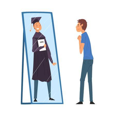 Chico de pie delante del espejo mirando su reflejo e imaginarse a sí mismo como estudiante de graduación con diploma, hombre ordinario viendo su futuro exitoso en la ilustración de Vector de espejo
