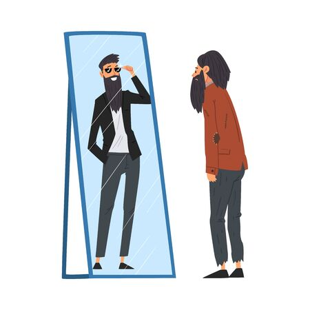 Hipster Man Standing in Front of Mirror Looking at His Reflection and Imagine Himself as Successful and Attractive, Man Seeing Himself Differently in Mirror Vector Illustration Illustration
