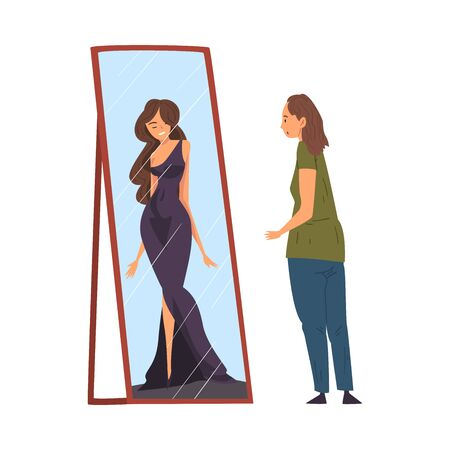 Overweight Woman Standing in Front of Mirror Looking at her Reflection and Imagine Herself as Slim, Woman Seeing Herself Differently in the Mirror Vector Illustration