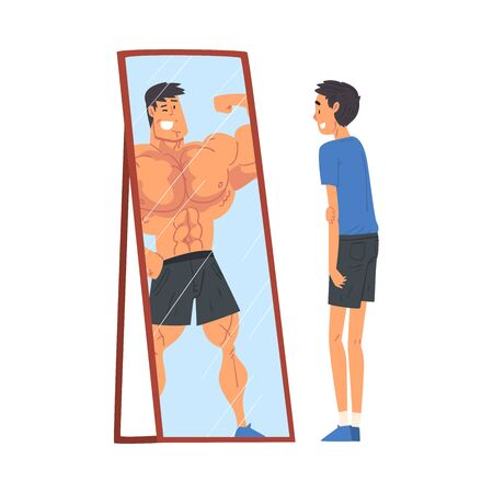 Guy Standing in Front of Mirror Looking at His Reflection and Imagine Himself as Muscular Attractive Athlete, Ordinary Man Seeing Himself Differently in Mirror Vector Illustration 向量圖像