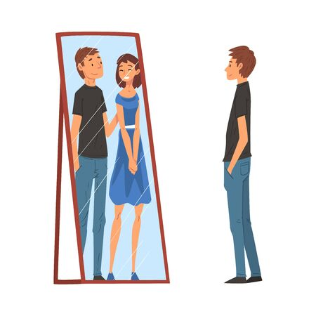 Lonely Guy Standing in Front of Mirror Looking at His Reflection and Imagine Himself With Young Woman, Man Seeing Himself Differently in Mirror Vector Illustration