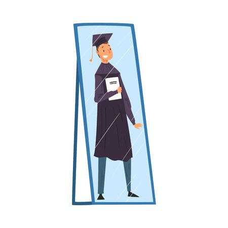Reflection of Happy Male Graduation Student in Gown and Cap with Diploma in His Hands in the Mirror, Alter Ego Concept Vector Illustration