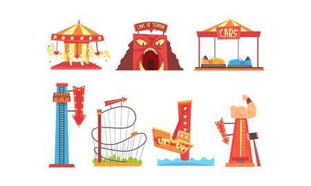 Amusement Park with Family Attractions Collection, Funfair, Carnival, Circus Design Elements with Carousels, Roller Coaster, Bumper Cars Vector Illustration