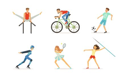 People Doing Different Kind of Sports Set, Professional Athletes Characters Cycling, Ice Skating, Playing Soccer, Tennis, Throwing Javelin Vector Illustration