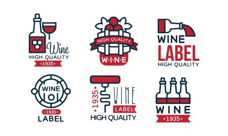 Wine High Quality Retro Labels Collection, Package Vintage Emblems Vector Illustration