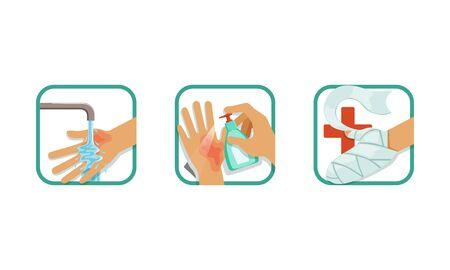 Ensemble de traitement des brûlures de la peau, traitement des blessures à la main avec de l'eau, antiseptique, pansement, brochure, affiche, élément d'infographie, illustration vectorielle