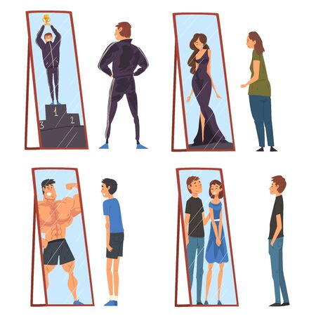 Collection of People Standing in Front of Mirrors Looking at Their Reflection and Imagine Themselves as Successful, Ordinary Men and Woman Seeing Themselves Differently in Mirror Vector Illustration