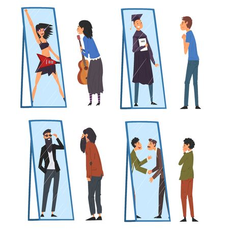 Colección de personas de pie frente al espejo mirando su reflejo e imaginarse a sí mismos como hombres y mujeres exitosos, atractivos, viéndose a sí mismos de manera diferente en la ilustración de Vector de espejo