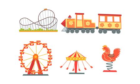 Collezione di attrazioni del parco divertimenti, luna park, carnevale, elementi di design del circo con giostre, montagne russe, illustrazione vettoriale del treno