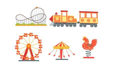 Kolekcja atrakcji parku rozrywki, wesołe miasteczko, karnawał, elementy projektu cyrku z karuzelami, kolejka górska, ilustracja wektorowa pociągu