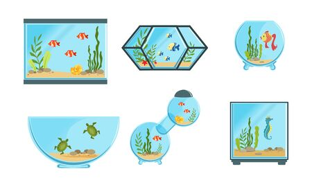 Collection of Aquarium Tanks of Different Shapes with Sea or Ocean Fishes and Seaweeds Vector Illustration