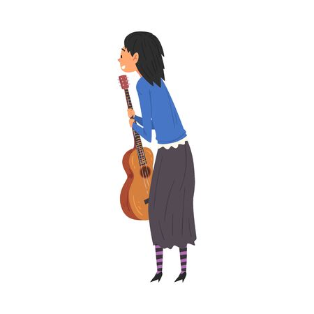 Young Woman with Guitar Standing and Looking at Something, View from Behind Vector Illustration Иллюстрация