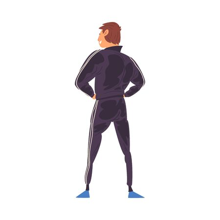 Young Man in Successful Pose Standing Back and Looking at Something, View from Behind Vector Illustration Stock fotó - 139840552