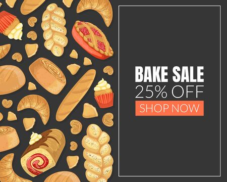Bake Sale Card Template mit Backwaren nahtlose Muster, Element kann für Bäckerei, Café-Menü, Süßwaren, Flyer, Zertifikat-Vektor-Illustration verwendet werden
